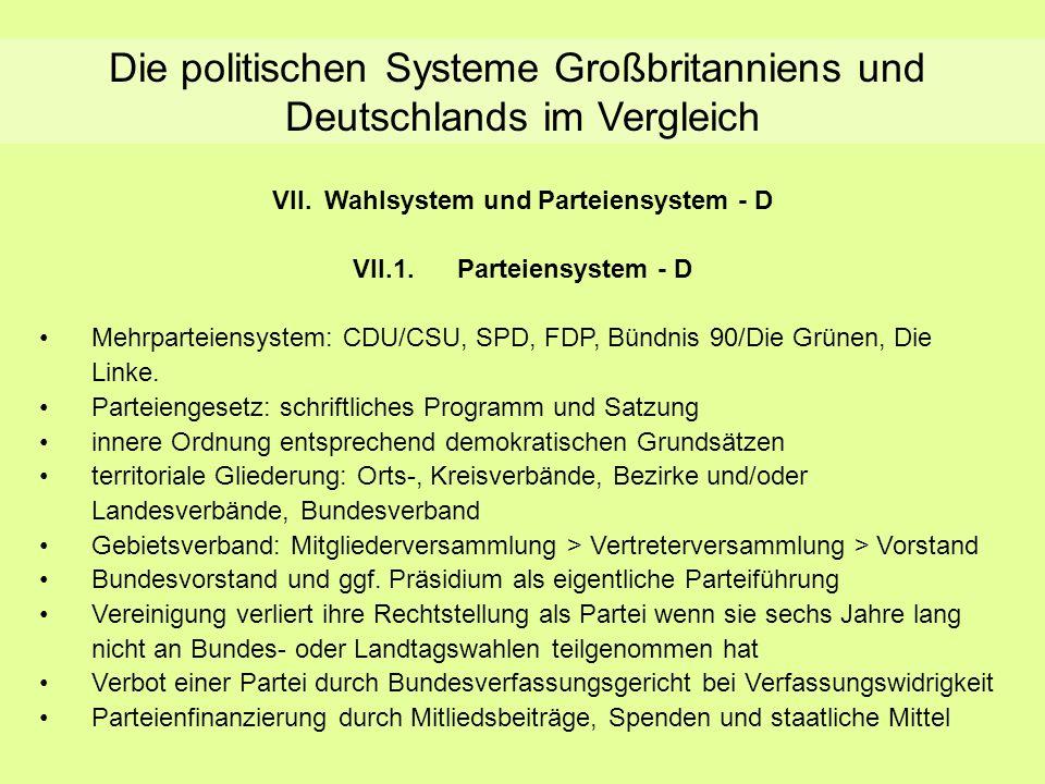 Die politischen Systeme Großbritanniens und Deutschlands im Vergleich VII.Wahlsystem und Parteiensystem - D VII.1.Parteiensystem - D Mehrparteiensyste