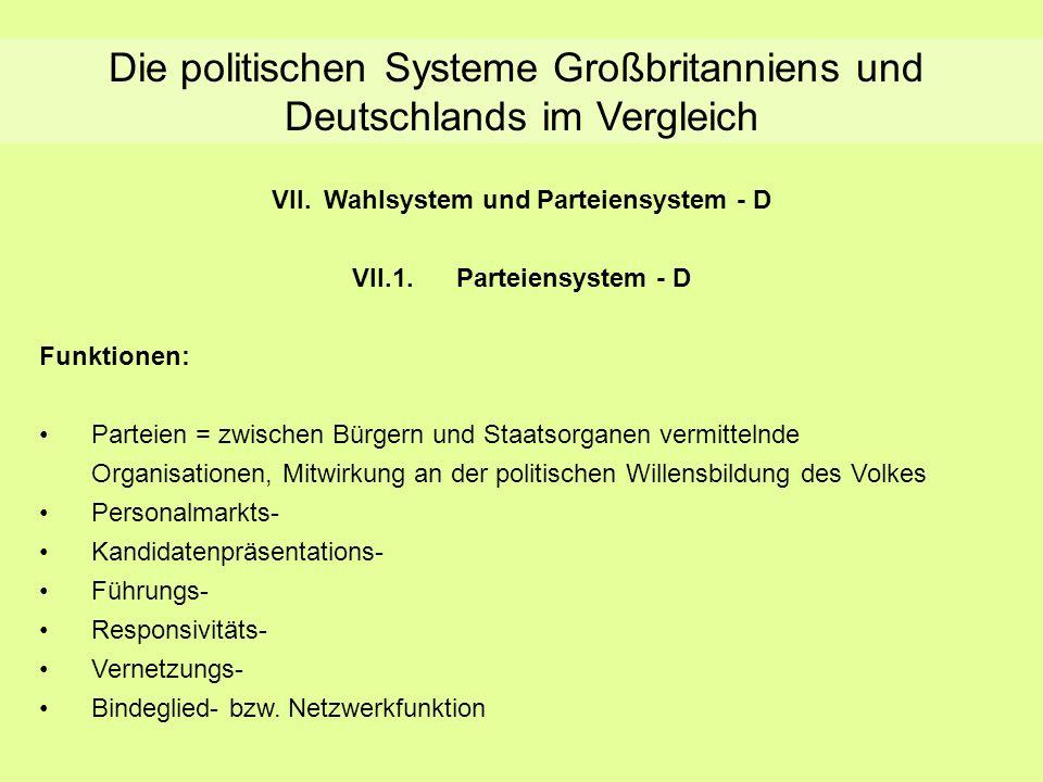 Die politischen Systeme Großbritanniens und Deutschlands im Vergleich VII.Wahlsystem und Parteiensystem - D VII.1.Parteiensystem - D Funktionen: Parte