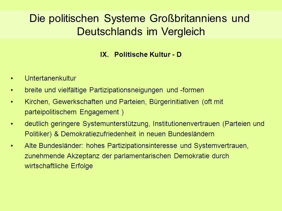 Die politischen Systeme Großbritanniens und Deutschlands im Vergleich IX.Politische Kultur - D Untertanenkultur breite und vielfältige Partizipationsn