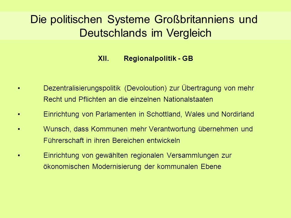 Regionalpolitik - GB XII.Regionalpolitik - GB Dezentralisierungspolitik (Devoloution) zur Übertragung von mehr Recht und Pflichten an die einzelnen Na