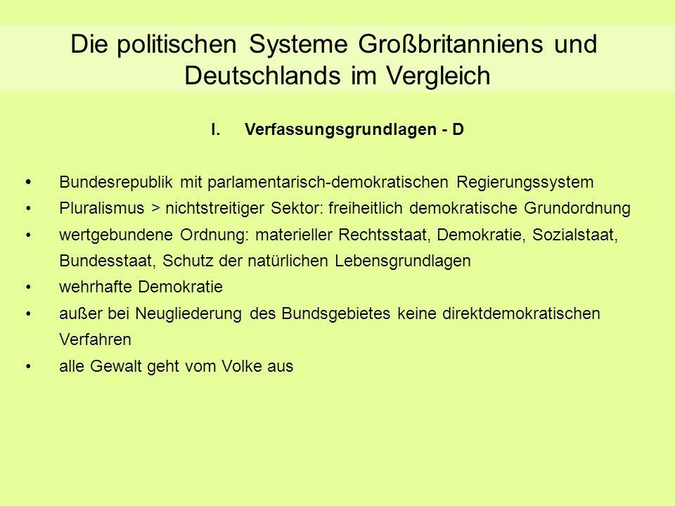 Die politischen Systeme Großbritanniens und Deutschlands im Vergleich I.Verfassungsgrundlagen - D Bundesrepublik mit parlamentarisch-demokratischen Re