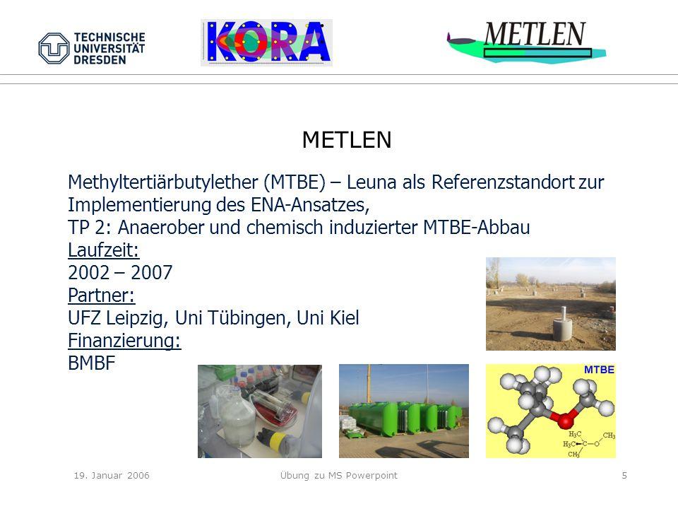 19. Januar 2006Übung zu MS Powerpoint5 METLEN Methyltertiärbutylether (MTBE) – Leuna als Referenzstandort zur Implementierung des ENA-Ansatzes, TP 2: