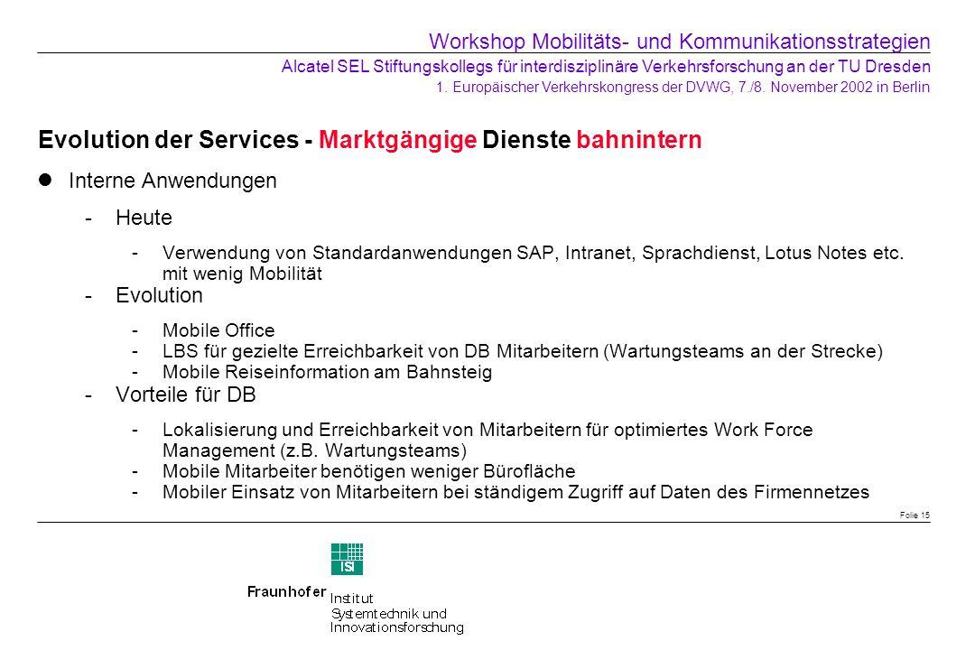 Evolution der Services - Marktgängige Dienste bahnintern Interne Anwendungen Heute -Verwendung von Standardanwendungen SAP, Intranet, Sprachdienst, L