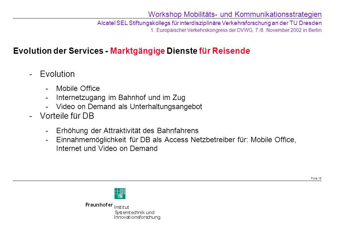 Evolution der Services - Marktgängige Dienste für Reisende Evolution -Mobile Office -Internetzugang im Bahnhof und im Zug -Video on Demand als Unterh