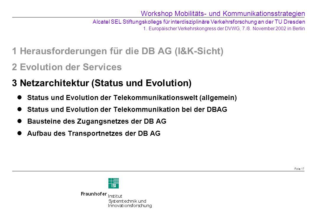 Folie 17 1 Herausforderungen für die DB AG (I&K-Sicht) 2 Evolution der Services 3 Netzarchitektur (Status und Evolution) Status und Evolution der Tele