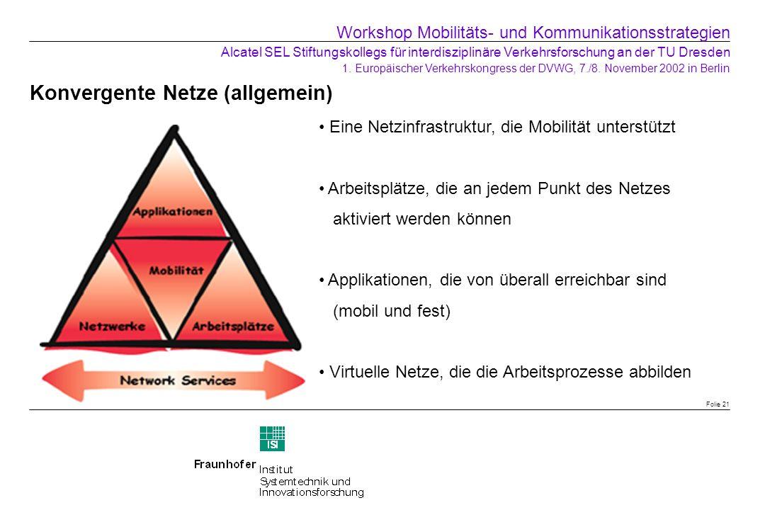 Konvergente Netze (allgemein) Folie 21 Eine Netzinfrastruktur, die Mobilität unterstützt Arbeitsplätze, die an jedem Punkt des Netzes aktiviert werden