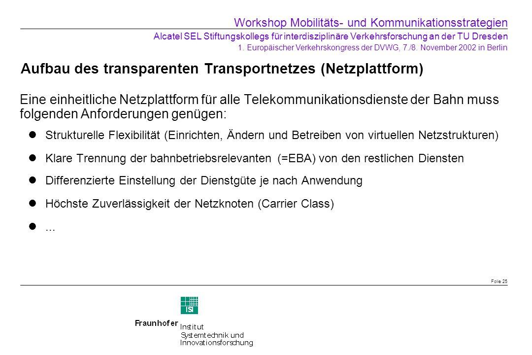 Aufbau des transparenten Transportnetzes (Netzplattform) Eine einheitliche Netzplattform für alle Telekommunikationsdienste der Bahn muss folgenden An