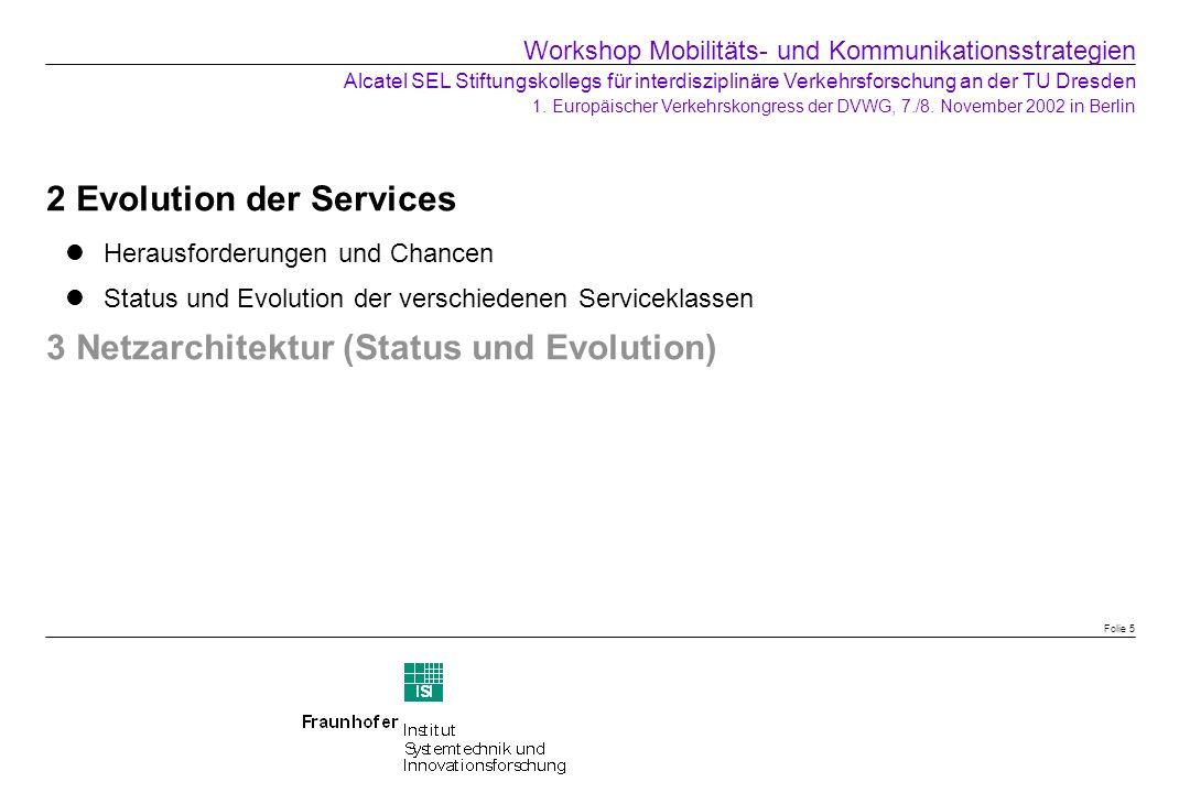 2 Evolution der Services Herausforderungen und Chancen Status und Evolution der verschiedenen Serviceklassen 3 Netzarchitektur (Status und Evolution)