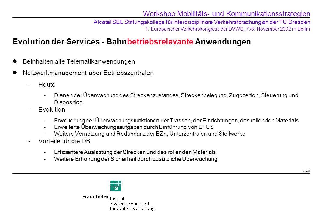 Evolution der Services - Bahnbetriebsrelevante Anwendungen Beinhalten alle Telematikanwendungen Netzwerkmanagement über Betriebszentralen Heute -Dien
