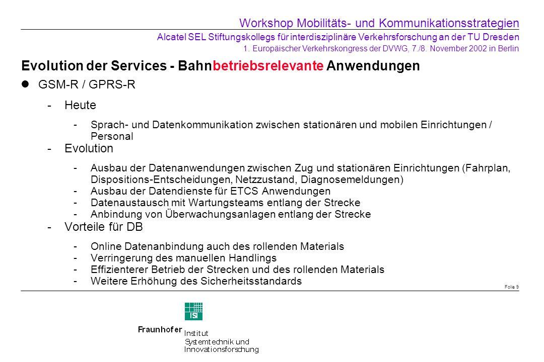 Evolution der Services - Bahnbetriebsrelevante Anwendungen GSM-R / GPRS-R Heute -Sprach- und Datenkommunikation zwischen stationären und mobilen Einr