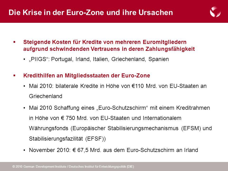 © 2010 German Development Institute / Deutsches Institut für Entwicklungspolitik (DIE) Steigende Kosten für Kredite von mehreren Euromitgliedern aufgr