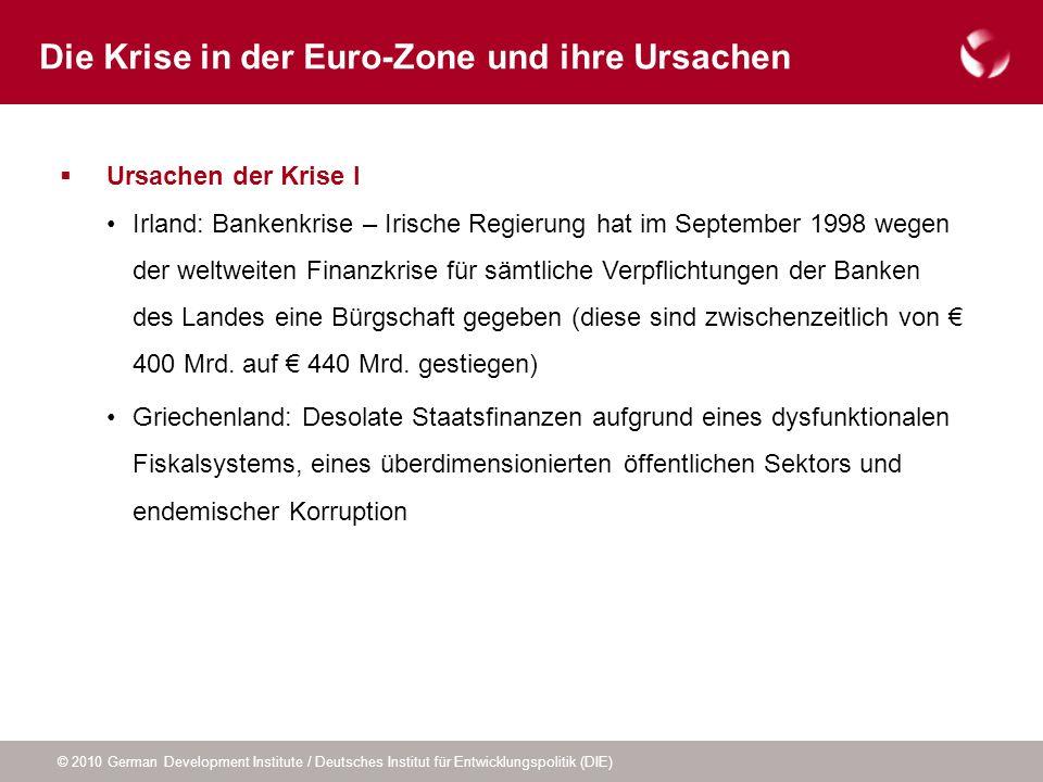 © 2010 German Development Institute / Deutsches Institut für Entwicklungspolitik (DIE) Ursachen der Krise II Niedrige Zinsen nach Beitritt zur Euro-Zone haben Konsum und Investitionen im Bausektor befeuert Blasen im Immobiliensektor, die in der Finanzkrise geplatzt sind, Einbruch im Bausektor schwächt nun Wachstum Zu unterschiedlichem Maße Wettbewerbsverlust innerhalb der Währungsunion Die Krise in der Euro-Zone und ihre Ursachen