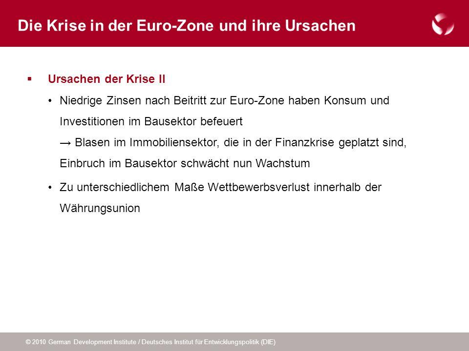 © 2010 German Development Institute / Deutsches Institut für Entwicklungspolitik (DIE) Ursachen der Krise II Niedrige Zinsen nach Beitritt zur Euro-Zo
