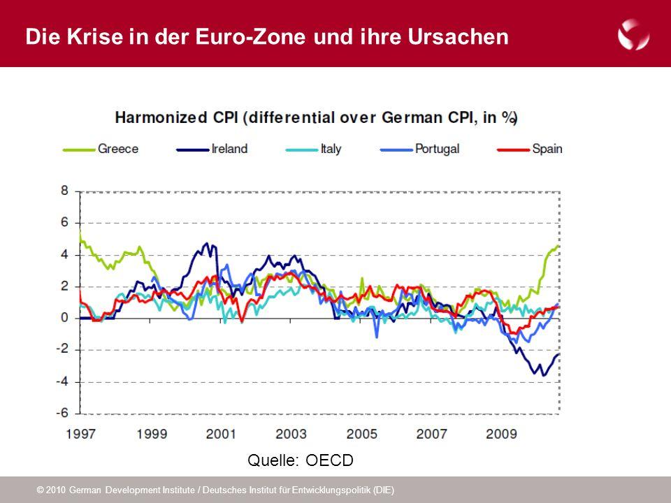 © 2010 German Development Institute / Deutsches Institut für Entwicklungspolitik (DIE) Die Krise in der Euro-Zone und ihre Ursachen Quelle: OECD