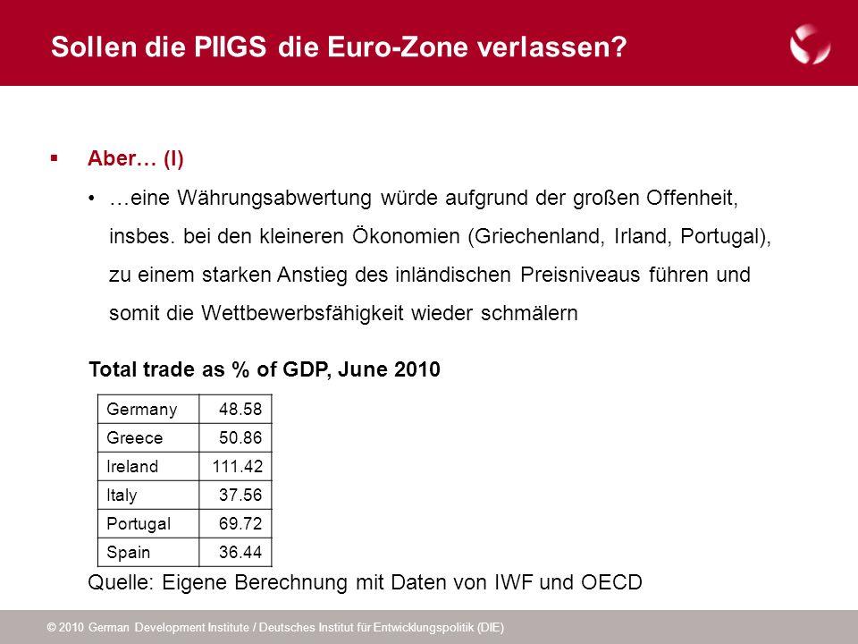 © 2010 German Development Institute / Deutsches Institut für Entwicklungspolitik (DIE) Sollen die PIIGS die Euro-Zone verlassen? Aber… (I) …eine Währu