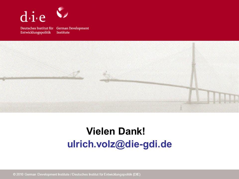 © 2010 German Development Institute / Deutsches Institut für Entwicklungspolitik (DIE) ulrich.volz@die-gdi.de Vielen Dank!
