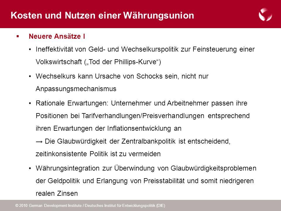 © 2010 German Development Institute / Deutsches Institut für Entwicklungspolitik (DIE) Neuere Ansätze I Ineffektivität von Geld- und Wechselkurspoliti