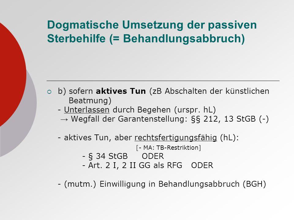 Dogmatische Umsetzung der passiven Sterbehilfe (= Behandlungsabbruch) b) sofern aktives Tun (zB Abschalten der künstlichen Beatmung) - Unterlassen durch Begehen (urspr.