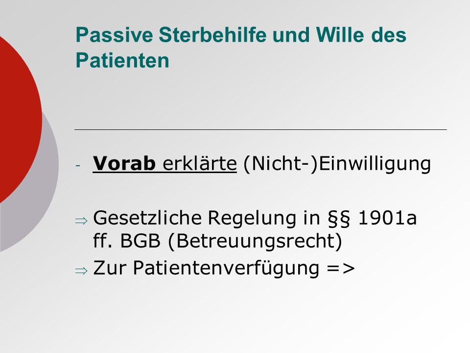 Passive Sterbehilfe und Wille des Patienten - Vorab erklärte (Nicht-)Einwilligung Gesetzliche Regelung in §§ 1901a ff. BGB (Betreuungsrecht) Zur Patie
