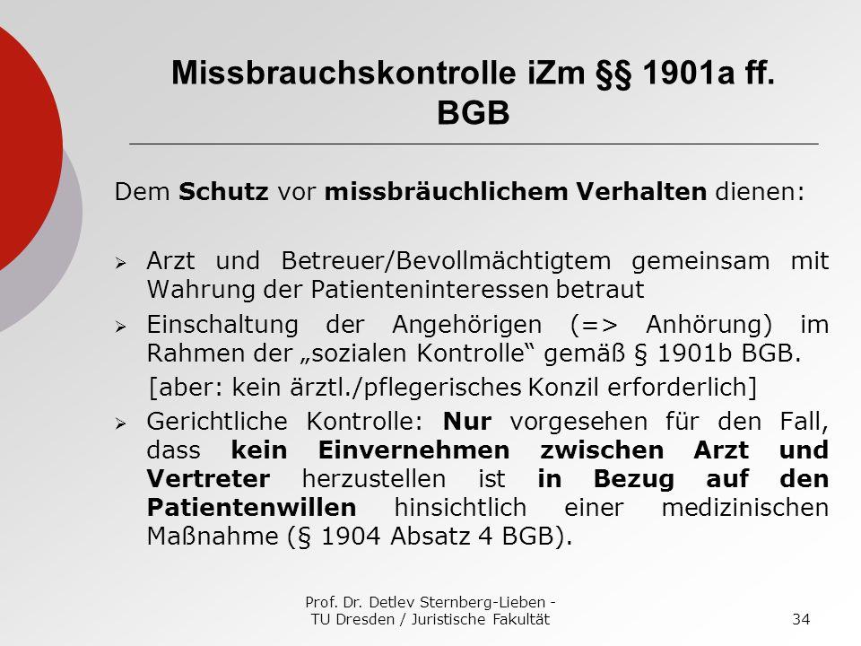Prof. Dr. Detlev Sternberg-Lieben - TU Dresden / Juristische Fakultät34 Missbrauchskontrolle iZm §§ 1901a ff. BGB Dem Schutz vor missbräuchlichem Verh