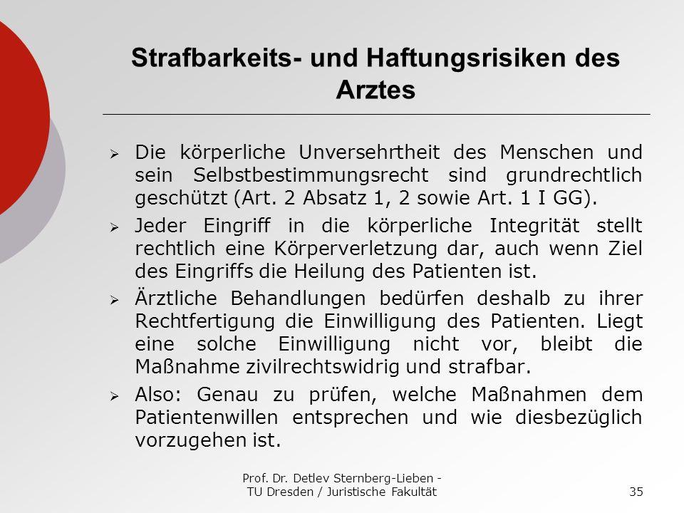 Prof. Dr. Detlev Sternberg-Lieben - TU Dresden / Juristische Fakultät35 Strafbarkeits- und Haftungsrisiken des Arztes Die körperliche Unversehrtheit d