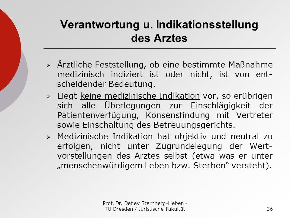 Prof. Dr. Detlev Sternberg-Lieben - TU Dresden / Juristische Fakultät36 Verantwortung u. Indikationsstellung des Arztes Ärztliche Feststellung, ob ein