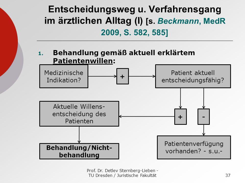 Prof. Dr. Detlev Sternberg-Lieben - TU Dresden / Juristische Fakultät37 Entscheidungsweg u. Verfahrensgang im ärztlichen Alltag (I) [s. Beckmann, MedR