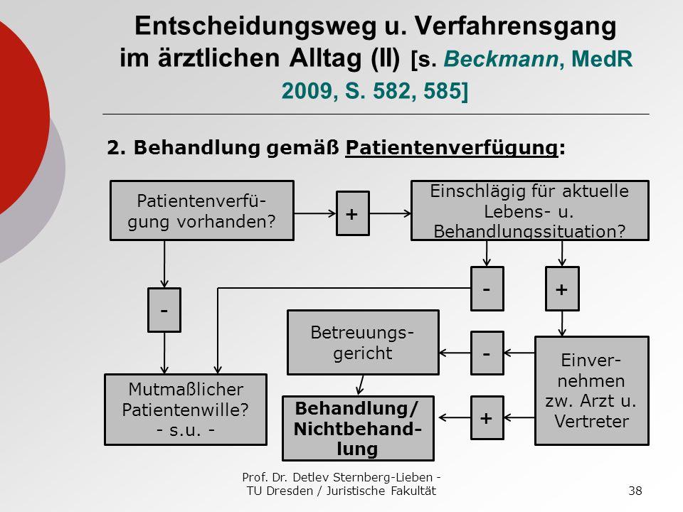 Prof. Dr. Detlev Sternberg-Lieben - TU Dresden / Juristische Fakultät38 Entscheidungsweg u. Verfahrensgang im ärztlichen Alltag (II) [s. Beckmann, Med