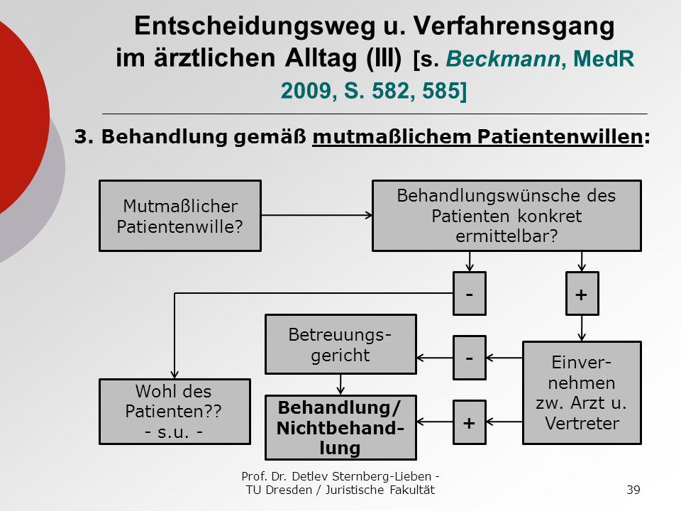 Prof. Dr. Detlev Sternberg-Lieben - TU Dresden / Juristische Fakultät39 Entscheidungsweg u. Verfahrensgang im ärztlichen Alltag (III) [s. Beckmann, Me