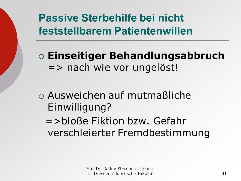 Prof. Dr. Detlev Sternberg-Lieben - TU Dresden / Juristische Fakultät41 Passive Sterbehilfe bei nicht feststellbarem Patientenwillen Einseitiger Behan