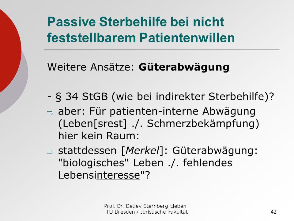 Prof. Dr. Detlev Sternberg-Lieben - TU Dresden / Juristische Fakultät42 Passive Sterbehilfe bei nicht feststellbarem Patientenwillen Weitere Ansätze: