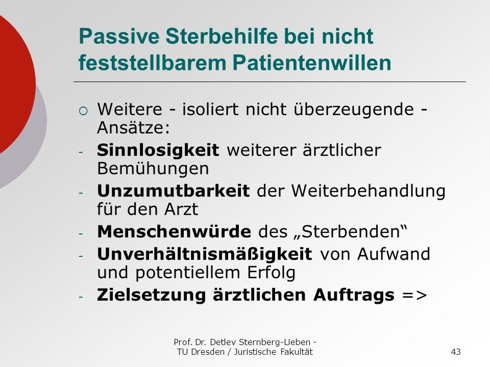 Prof. Dr. Detlev Sternberg-Lieben - TU Dresden / Juristische Fakultät43 Passive Sterbehilfe bei nicht feststellbarem Patientenwillen Weitere - isolier