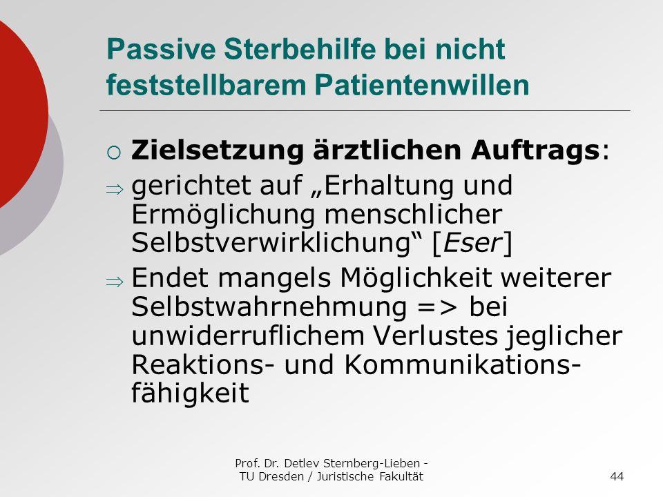 Prof. Dr. Detlev Sternberg-Lieben - TU Dresden / Juristische Fakultät44 Passive Sterbehilfe bei nicht feststellbarem Patientenwillen Zielsetzung ärztl