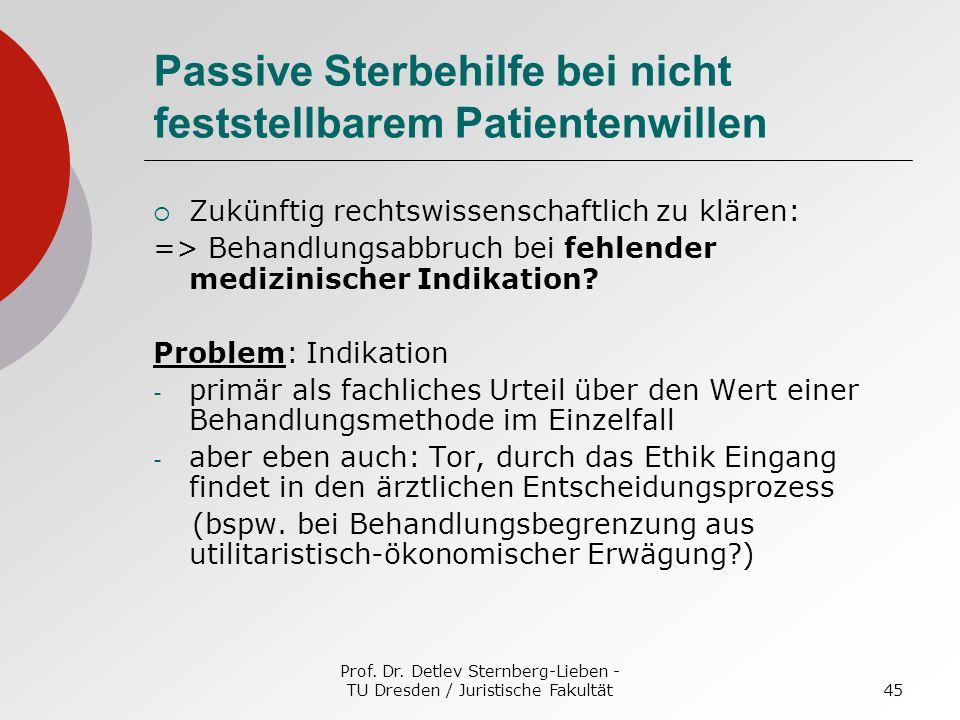Prof. Dr. Detlev Sternberg-Lieben - TU Dresden / Juristische Fakultät45 Passive Sterbehilfe bei nicht feststellbarem Patientenwillen Zukünftig rechtsw