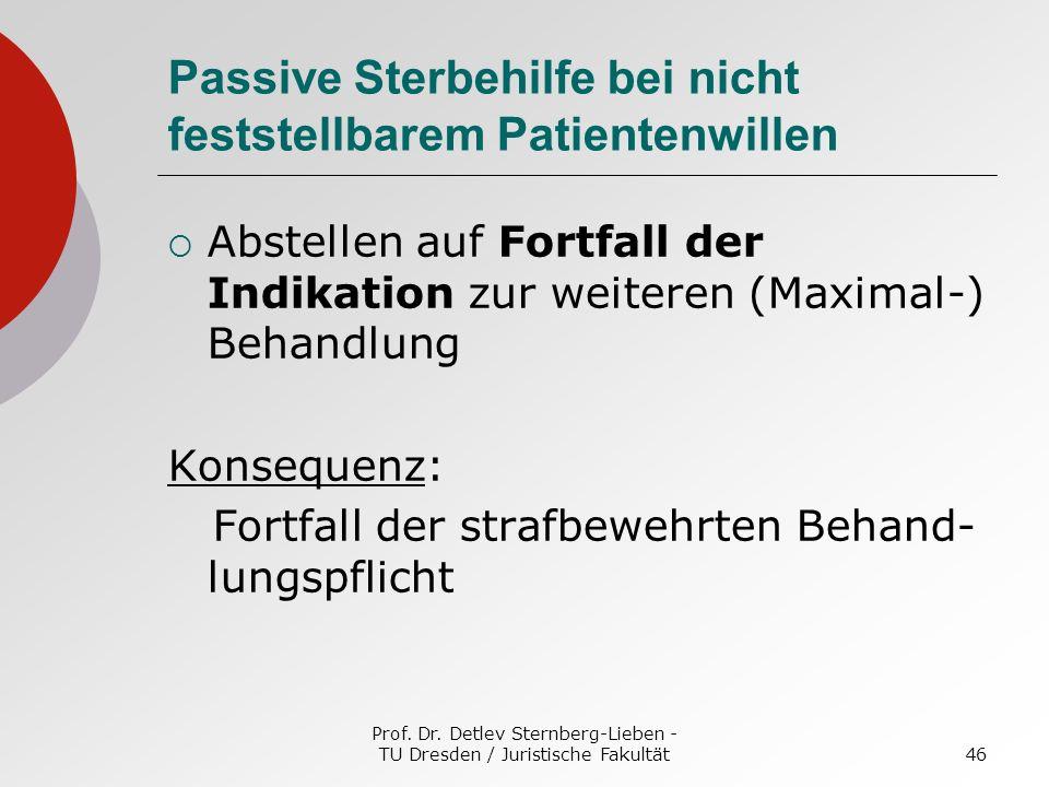 Prof. Dr. Detlev Sternberg-Lieben - TU Dresden / Juristische Fakultät46 Passive Sterbehilfe bei nicht feststellbarem Patientenwillen Abstellen auf For