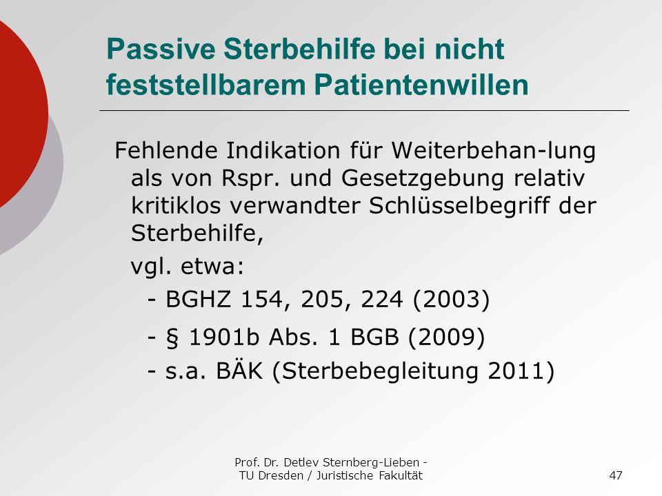 Prof. Dr. Detlev Sternberg-Lieben - TU Dresden / Juristische Fakultät47 Passive Sterbehilfe bei nicht feststellbarem Patientenwillen Fehlende Indikati