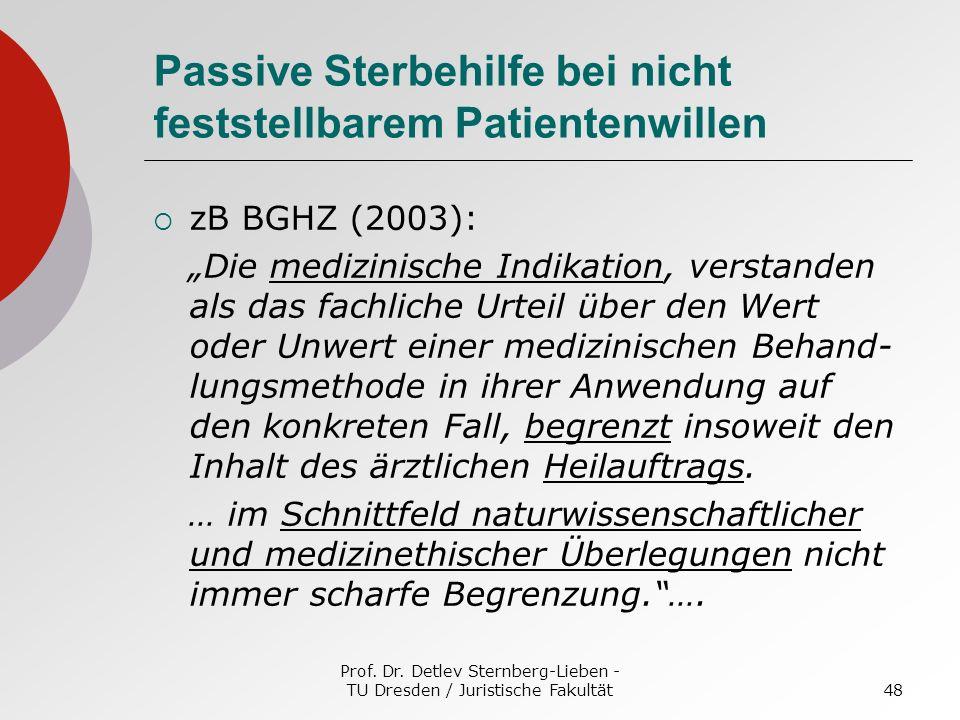 Prof. Dr. Detlev Sternberg-Lieben - TU Dresden / Juristische Fakultät48 Passive Sterbehilfe bei nicht feststellbarem Patientenwillen zB BGHZ (2003): D