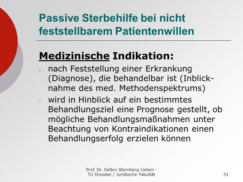 Prof. Dr. Detlev Sternberg-Lieben - TU Dresden / Juristische Fakultät51 Passive Sterbehilfe bei nicht feststellbarem Patientenwillen Medizinische Indi