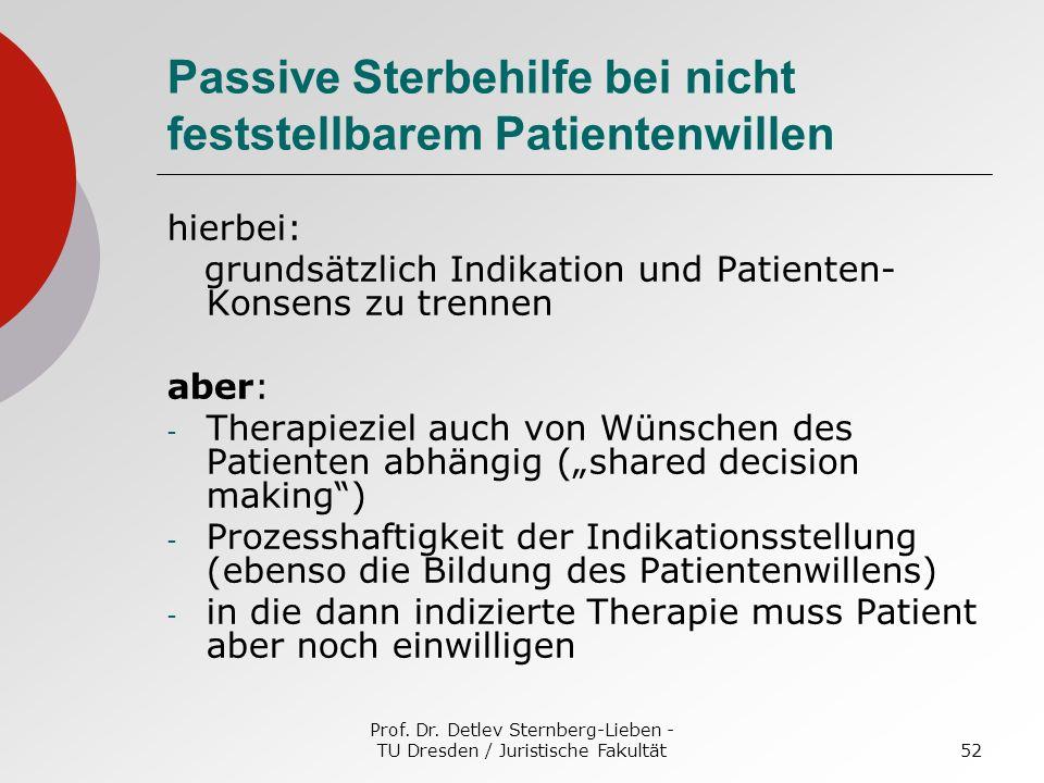 Prof. Dr. Detlev Sternberg-Lieben - TU Dresden / Juristische Fakultät52 Passive Sterbehilfe bei nicht feststellbarem Patientenwillen hierbei: grundsät
