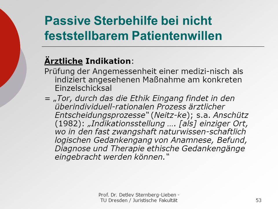 Prof. Dr. Detlev Sternberg-Lieben - TU Dresden / Juristische Fakultät53 Passive Sterbehilfe bei nicht feststellbarem Patientenwillen Ärztliche Indikat