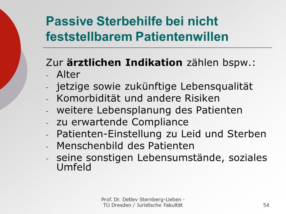 Prof. Dr. Detlev Sternberg-Lieben - TU Dresden / Juristische Fakultät54 Passive Sterbehilfe bei nicht feststellbarem Patientenwillen Zur ärztlichen In