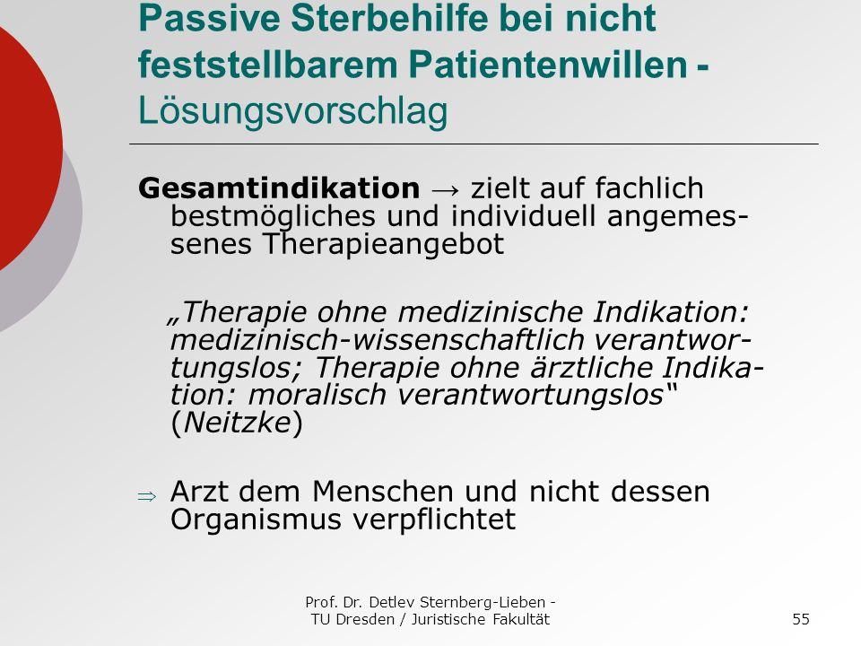 Prof. Dr. Detlev Sternberg-Lieben - TU Dresden / Juristische Fakultät55 Passive Sterbehilfe bei nicht feststellbarem Patientenwillen - Lösungsvorschla
