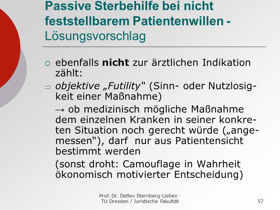 Prof. Dr. Detlev Sternberg-Lieben - TU Dresden / Juristische Fakultät57 Passive Sterbehilfe bei nicht feststellbarem Patientenwillen - Lösungsvorschla
