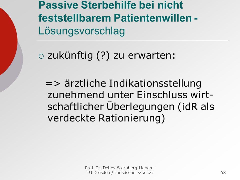 Prof. Dr. Detlev Sternberg-Lieben - TU Dresden / Juristische Fakultät58 Passive Sterbehilfe bei nicht feststellbarem Patientenwillen - Lösungsvorschla