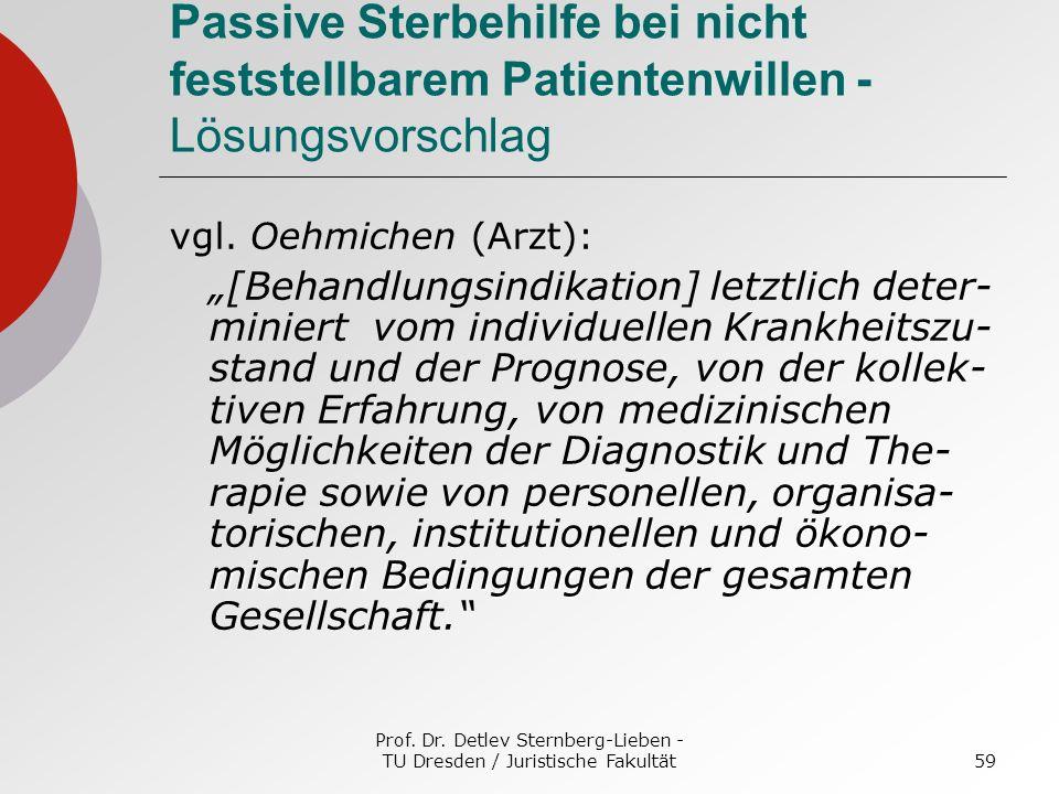 Prof. Dr. Detlev Sternberg-Lieben - TU Dresden / Juristische Fakultät59 Passive Sterbehilfe bei nicht feststellbarem Patientenwillen - Lösungsvorschla