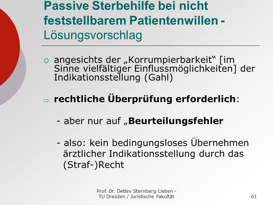 Prof. Dr. Detlev Sternberg-Lieben - TU Dresden / Juristische Fakultät61 Passive Sterbehilfe bei nicht feststellbarem Patientenwillen - Lösungsvorschla