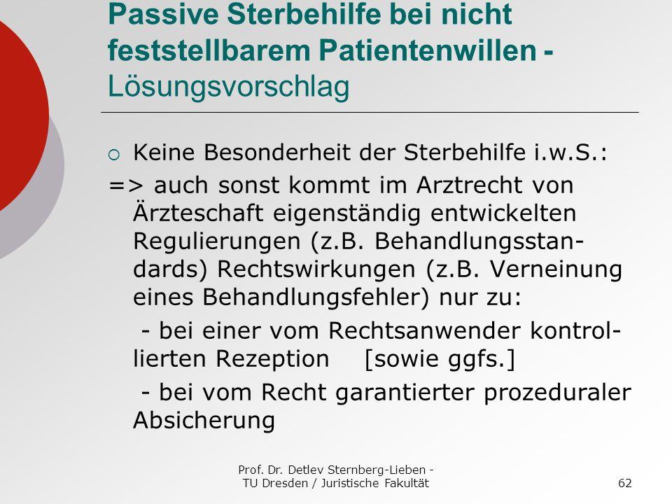 Prof. Dr. Detlev Sternberg-Lieben - TU Dresden / Juristische Fakultät62 Passive Sterbehilfe bei nicht feststellbarem Patientenwillen - Lösungsvorschla