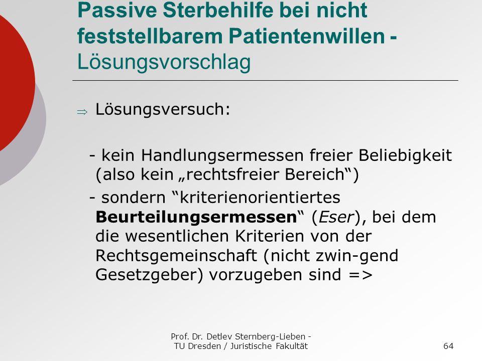 Prof. Dr. Detlev Sternberg-Lieben - TU Dresden / Juristische Fakultät64 Passive Sterbehilfe bei nicht feststellbarem Patientenwillen - Lösungsvorschla