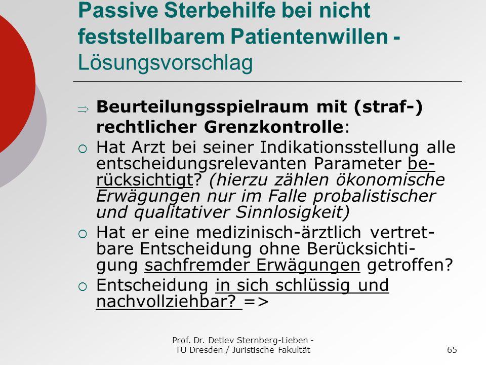 Prof. Dr. Detlev Sternberg-Lieben - TU Dresden / Juristische Fakultät65 Passive Sterbehilfe bei nicht feststellbarem Patientenwillen - Lösungsvorschla