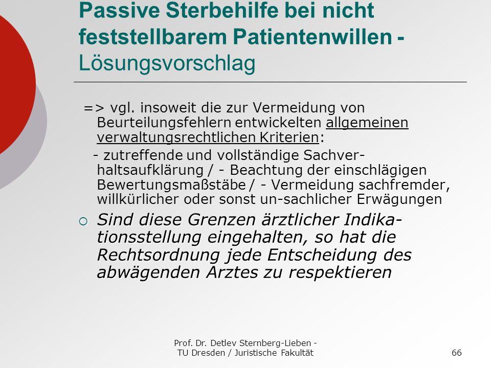 Prof. Dr. Detlev Sternberg-Lieben - TU Dresden / Juristische Fakultät66 Passive Sterbehilfe bei nicht feststellbarem Patientenwillen - Lösungsvorschla